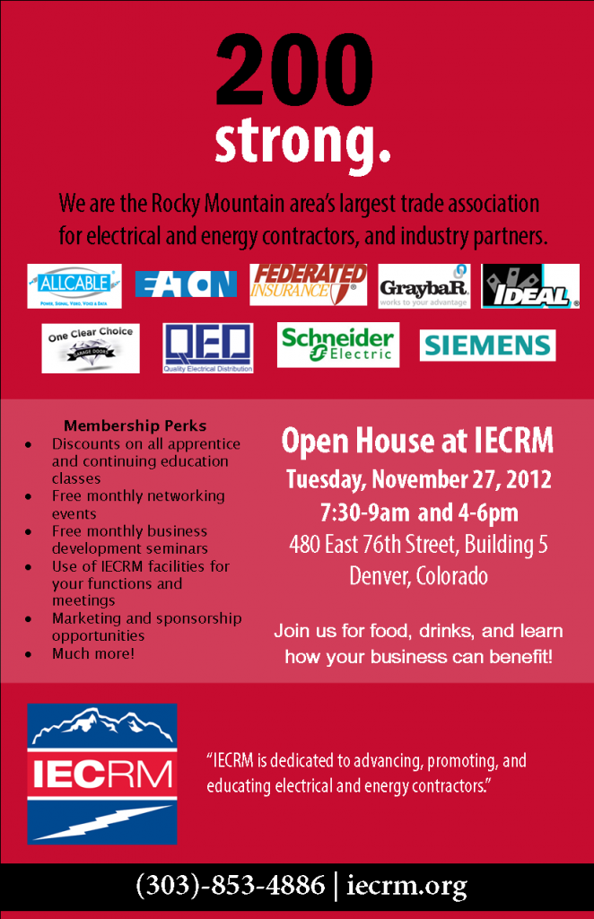IECRM 2012 Open House Invitation for Electrical Contractors